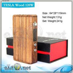 Tesla Wood 120W - деревянный боксмод-вариватт под 2 аккумулятора.