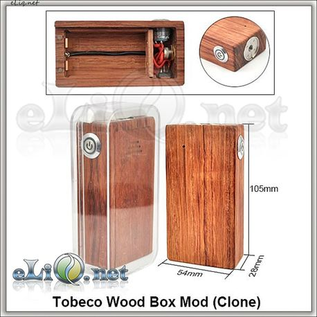 Tobeco Wood Box Mod (Clone) - деревянный механический мод под 2 аккумулятора