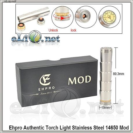 Ehpro Authentic Torch Light Stainless Steel 14650 Mod / механический мод, оригинал.