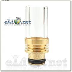 [510] Glass + Brass (Copper) Drip Tip - дрип-тип из латуни (меди) и стекла