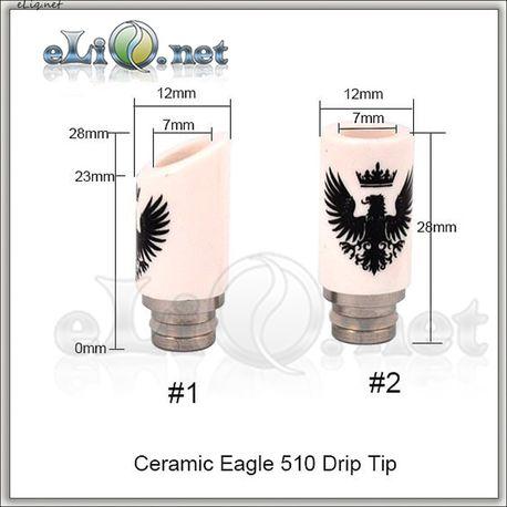 510 Керамический дрип-тип c изображением орла. Ceramic Eagle Drip Tip