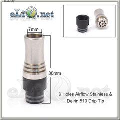 [510] 9 Air flow holes Drip Tip. Разборной дрип-тип 2-в-1, с обдувом.