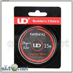 UD Fused Clapton Kanthal  Wire (26ga*2+32ga) - фюзд клэптон кантал.