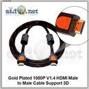 Кабель HDMI, 1080P, V1.4 (папа-папа). Поддержка 3D. Позолоченные разъемы. 2м.