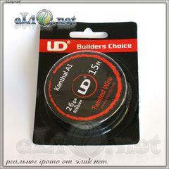 UD Twisted Wire 32ga*2+Ribbon  Витой кантал, круглый + плоский.