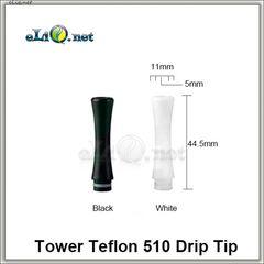 [510] Длинный дрип-тип / мундштук из тефлона (Teflon / PTFE)