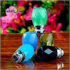[510] Rhombus Glass drip tip. Гибридный дрип-тип из нержавеющей стали и стекла. Ромбики.