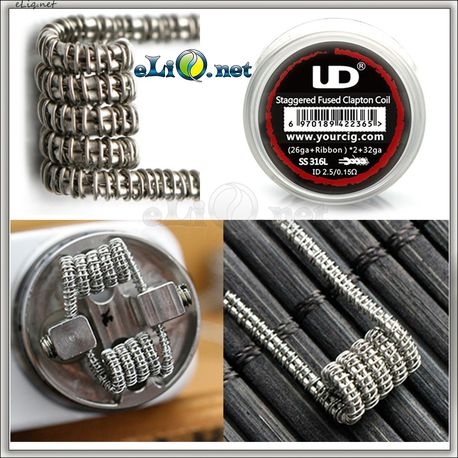 UD SS 316L Staggered Fuse Clapton Coil [26Ga+Ribbon]*2+32Ga