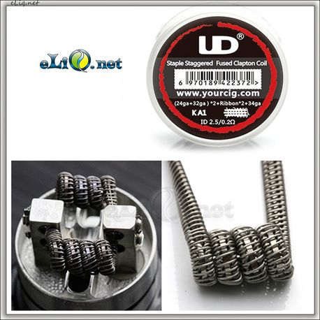 UD Kanthal A1 Staple Staggered Fuse Clapton Coil (24ga+32ga)*2+Ribbon*2+34ga. Намотка. Спираль.