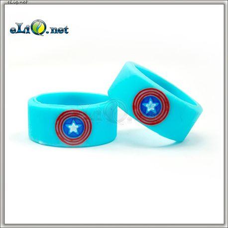 22 мм Captain America Vape Band - широкое декоративное силиконовое колечко для эл. сигареты. Капитан Америка.