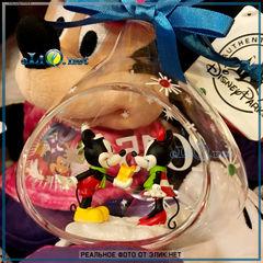 Стеклянная новогодняя эксклюзивная игрушка  Микки и Минни Маус. Minnie Mickey Mouse Ornament. Disney 2015 Edition