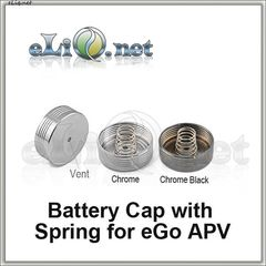 Battery Cap with Spring for eGo Bamboo APV V2 (Brass Body)