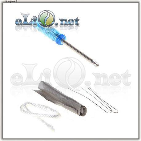 Набор: маленькая крестовая отверточка, сетка, нихром, шнур