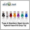 [510. Тип А, B, C, D] Красивый дрип-тип / мундштук в форме вазы из нержавеющей стали и акрила.