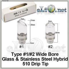 [510] Glass + Stainless Steel  Drip Tip - дрип-тип / мундштук из нержавеющей стали и стекла