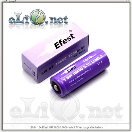 Efest IMR18500 1000mah (Purple) 2014 button top [15A] Высокотоковый аккумулятор