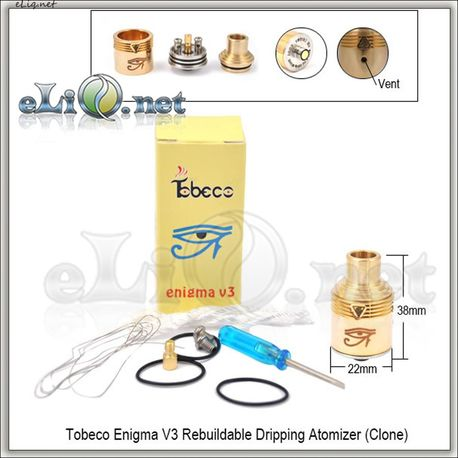 Tobeco Enigma V3 Brass RDA - ОА для дрипа из латуни, две спирали, регулировка подачи поздуха. Энигма
