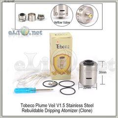 Tobeco Plume Veil V1.5 RDA - ОА для дрипа из нержавеющей стали. клон