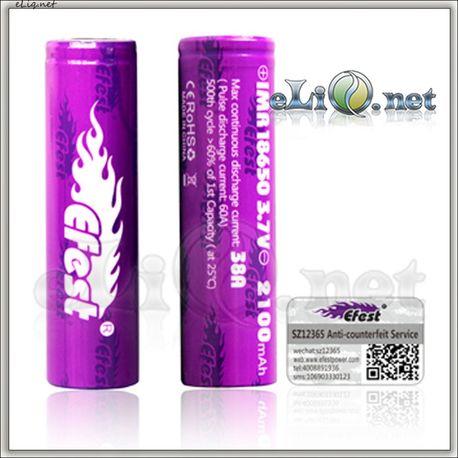 [38A] Efest Purple IMR18650 2100mah - flat top - Высокотоковый аккумулятор - 2015 new released!