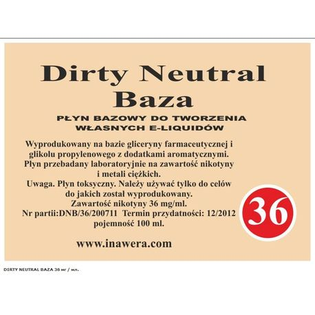 Основа для приготовления жидкостей Dirty Neutral Base (36) Inawera