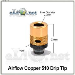 [510] Airflow Copper Drip Tip. Медный дриптип с обдувом.