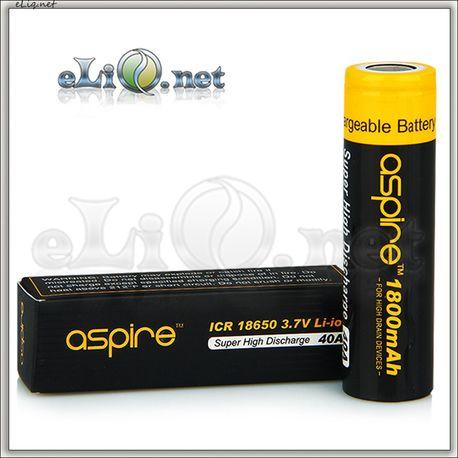 [40A] 1800mah Aspire ICR 18650  Li-ion - flat top - Высокотоковый аккумулятор