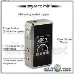 SMY60 TC 18650 VW/VT Mini Box Mod - боксмод вариват с температурным контролем и большим экраном.