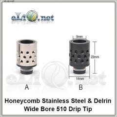 [510] Honeycomb  Drip tip. Дрип-тип из нержавеющей стали и делрина.