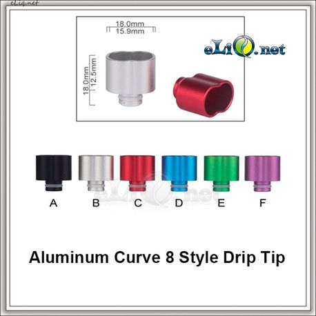 [510] Curve 8 Drip Tip. Алюминиевый дрип-тип.