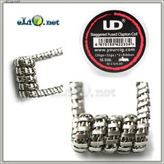 UD SS 316L Staggered Fuse Clapton Coil (26ga+32ga)*2+Ribbon. Намотка. Спираль.