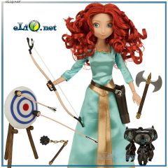 Говорящая кукла Принцесса Мерида с луком, минифигурки. Disney Store Brave Merida Deluxe Talking Doll