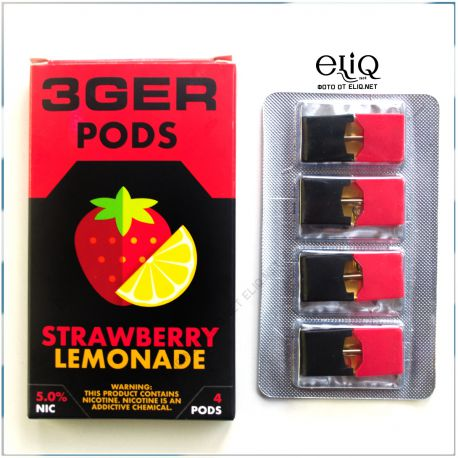 4шт Strawberry Lemonade 3GER JUUL POD 5% - Картридж (под) для электронной сигареты, Pod-системы Джул Лимонад, клубника