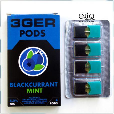4шт BlackCurrant Mint 3GER JUUL POD 5% - Картридж (под) для электронной сигареты, Pod-системы Джул