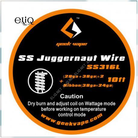 [GeekVape] 10ft SS Juggernaut Wire SS316L Wire (28GA + 38GA)*2 + Ribbon (38GA*24GA). Нержавейка.