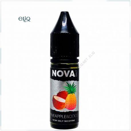 15 мл 65 мг NOVA Salt Pineapple Coco - вейп-жидкость для заправки электронных сигарет. Ананас, кокос. Соль