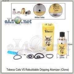 Tobeco Cats V5 RDA - ОА для дрипа из нержавеющей стали и латуни, две спирали. клон.