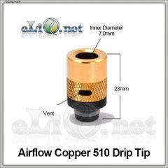 [510] Airflow Copper 510 Drip Tip. Медный дриптип с обдувом.