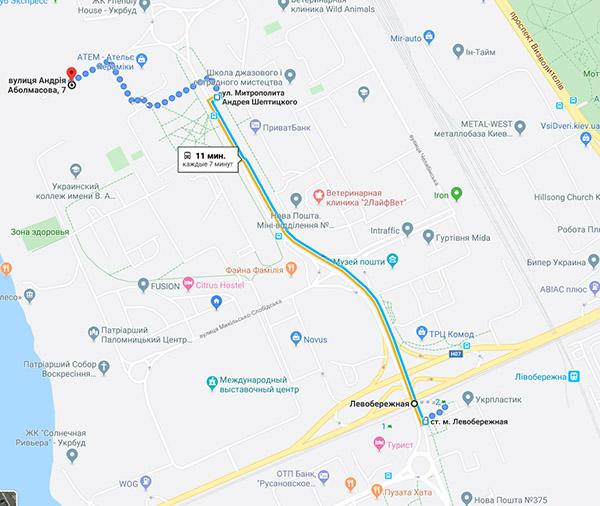 Карта проезжа в магазин Вейп Шоп Элик на Левобережной
